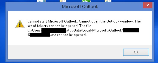 Microsoft Outlook cannot start Microsoft Office Outlook  Cannot open