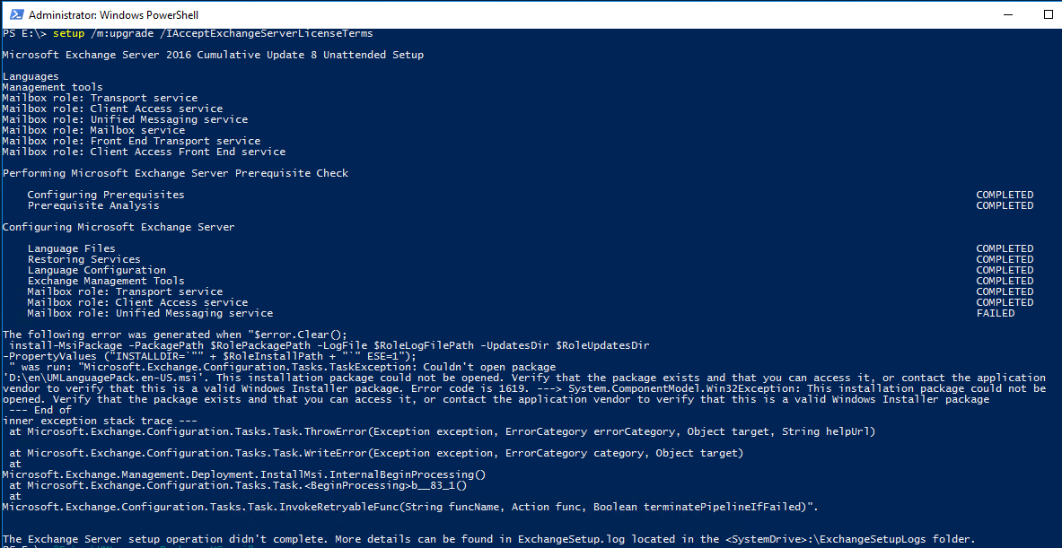 Error by installing Exchange CU (Event 1002)   MSB365