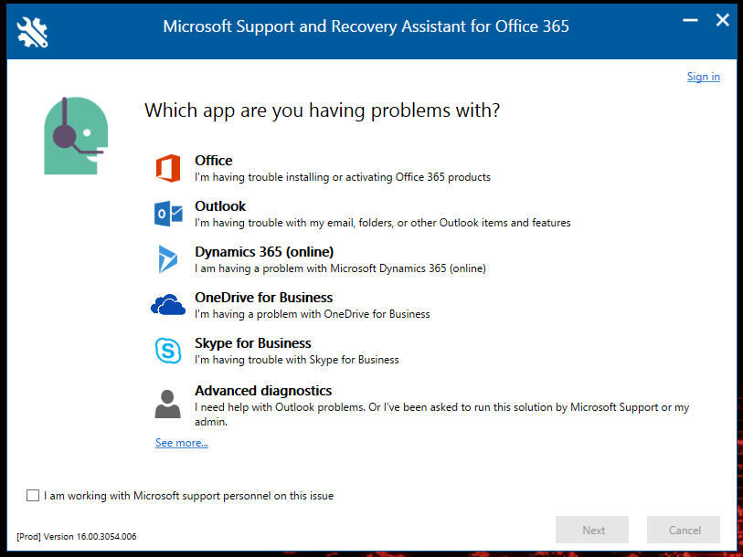 Fix Office 365 issues using the Microsoft Tool