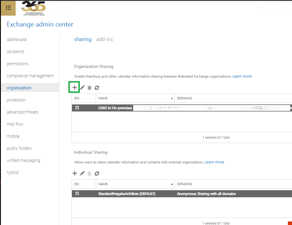 Create an Exchange federation between Exchange and Office